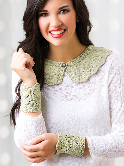 Free knitting pattern for Lace Collar and Cuffs and more wrist warmer knitting patterns