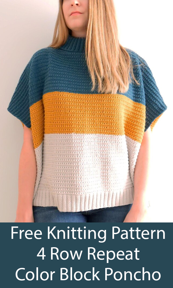 Free Knitting Pattern for 4 Row Repeat 2 Piece Color Block Poncho