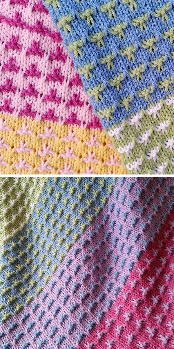 Free Knitting Pattern for 6 Row Repeat Color Field Baby Blanket