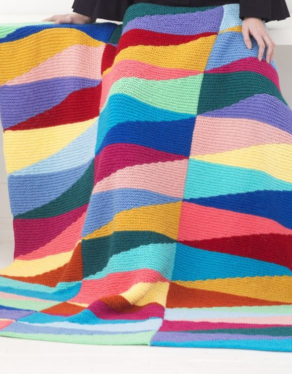 Free Knitting Pattern for Color Pennant Afghan
