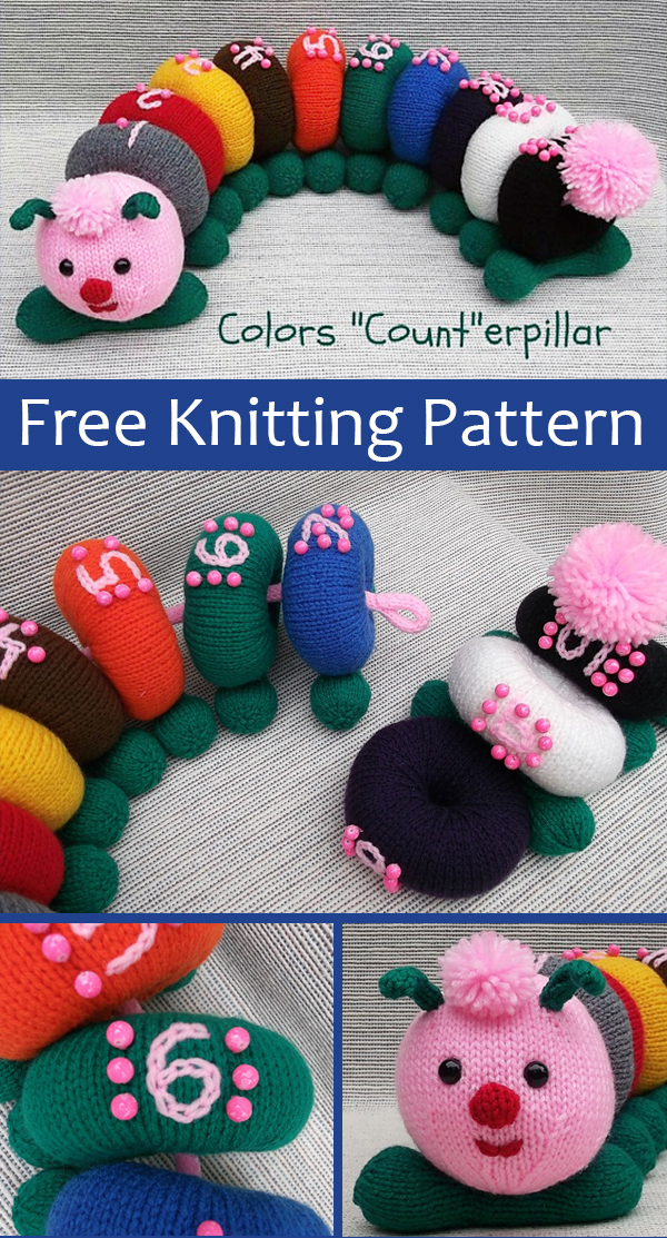 Free Knitting Pattern for Colors Count-erpillar