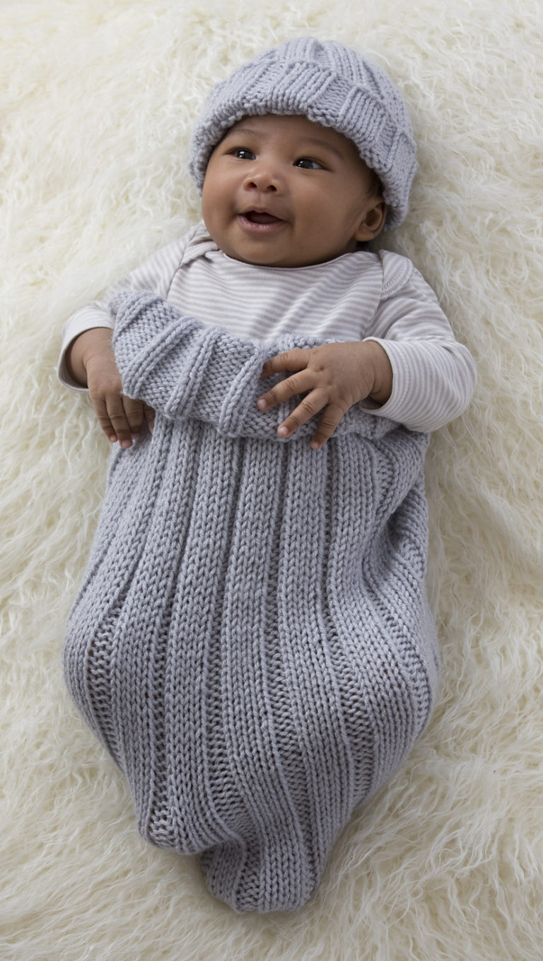Free Knitting Pattern for Comfy Baby Cocoon and Cap