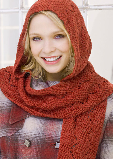 Free Knitting Pattern for Comfy Hooded Scarf