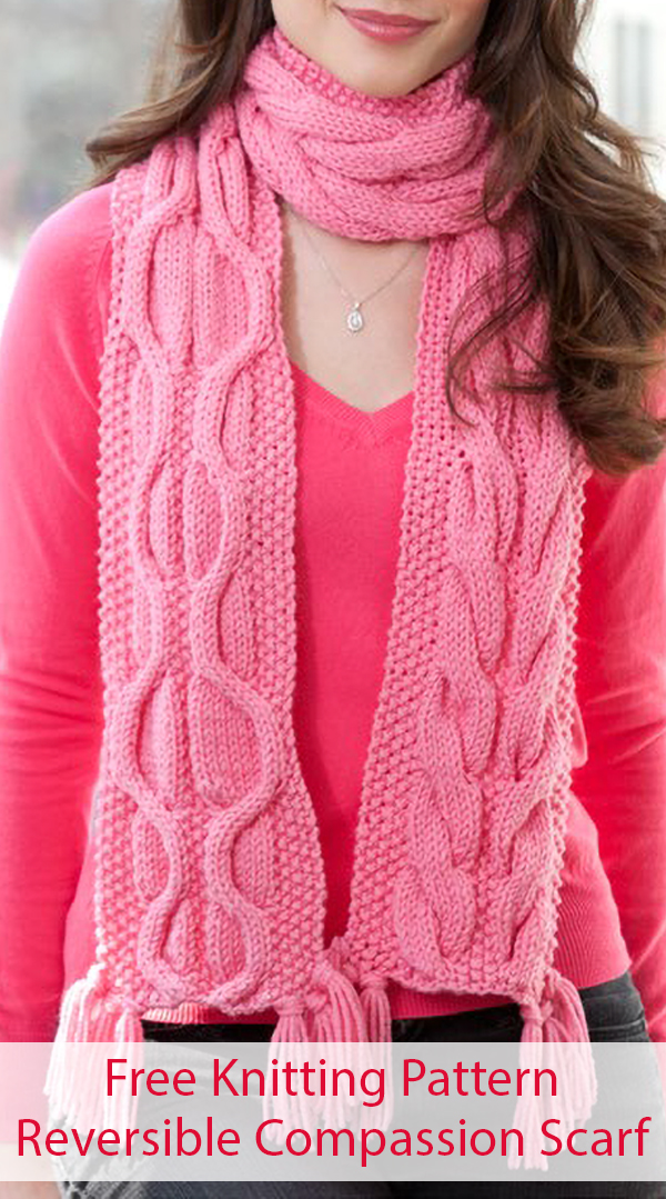 Free Knitting Pattern for Reversible Cable Compassion Scarf