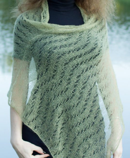 Knitting Pattern for Wave Lace Poncho