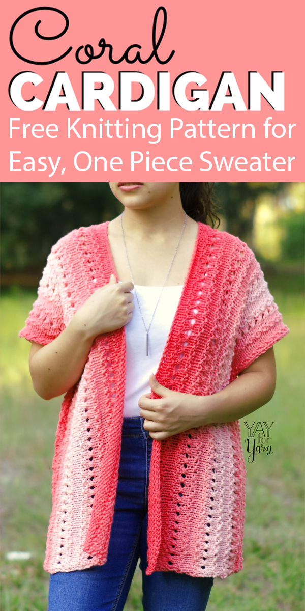 Free Knitting Pattern for Easy Coral Cardigan