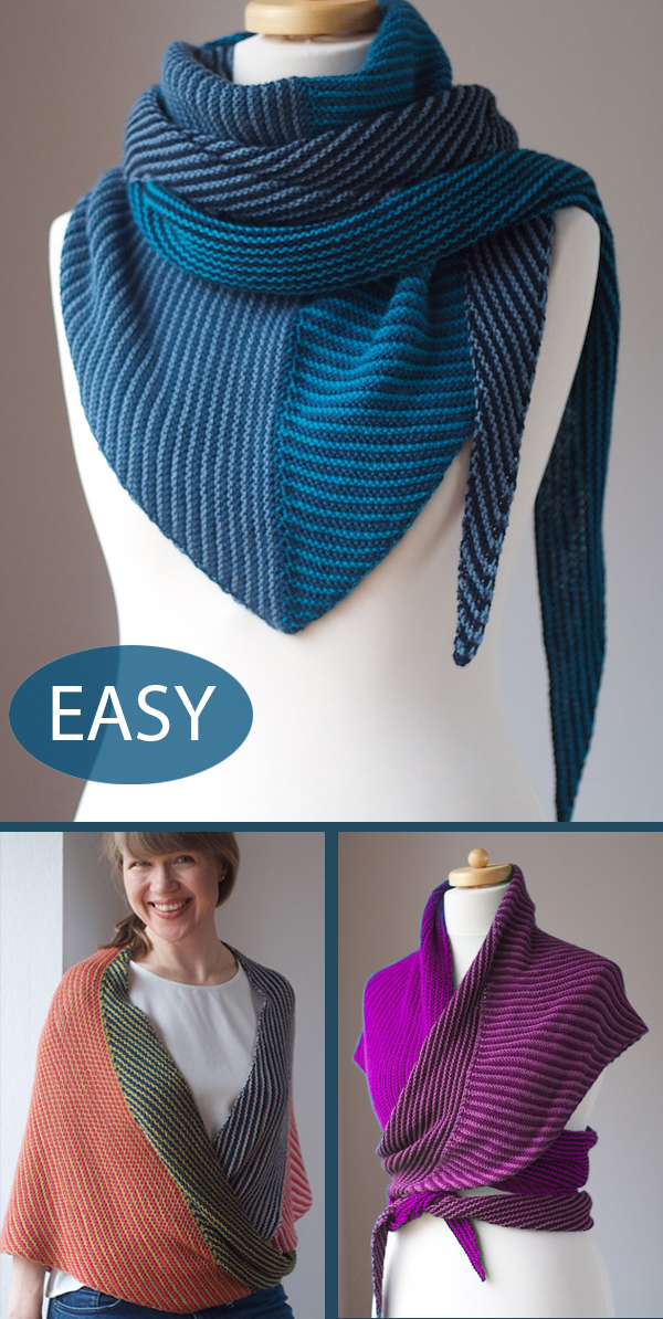 Easy Knitting Pattern for Corners, Edges, Stripes Shawl