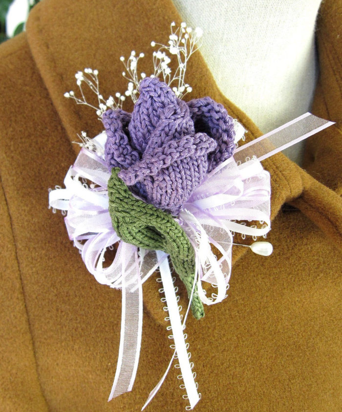Knitting Pattern for Rose Bud Corsage or Boutonniere