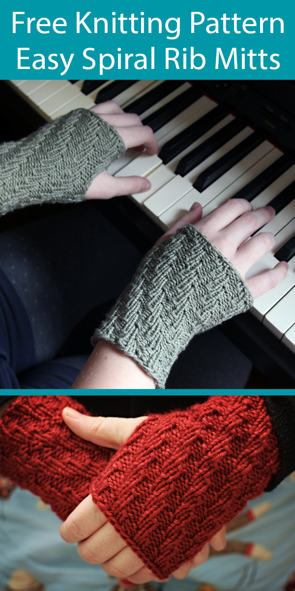 Free Knitting Pattern for Easy One Skein Spiral Rib Wristwarmers Fingerless Mitts