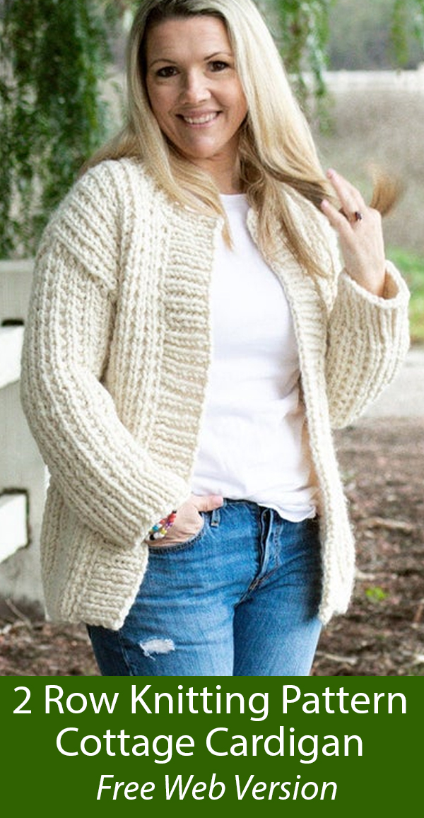 Free Cottage Cardigan Knitting Pattern in 2 Row Repeat Sizes XS to 4X