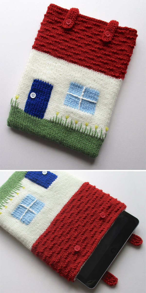 Free knitting pattern for Cottage Tablet Cosy