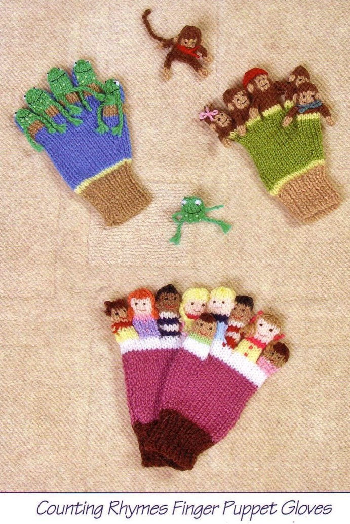 Knitting Pattern for Counting Rhymes Finger Puppet Gloves