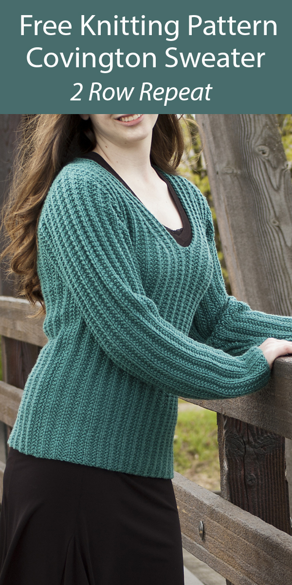 Free Sweater Knitting Pattern 2 Row Repeat Covington Pullover Sweater
