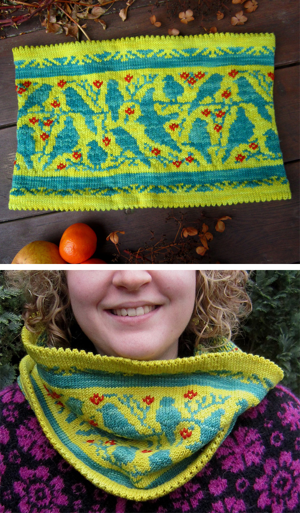 Free Knitting Pattern for Birds Cowl