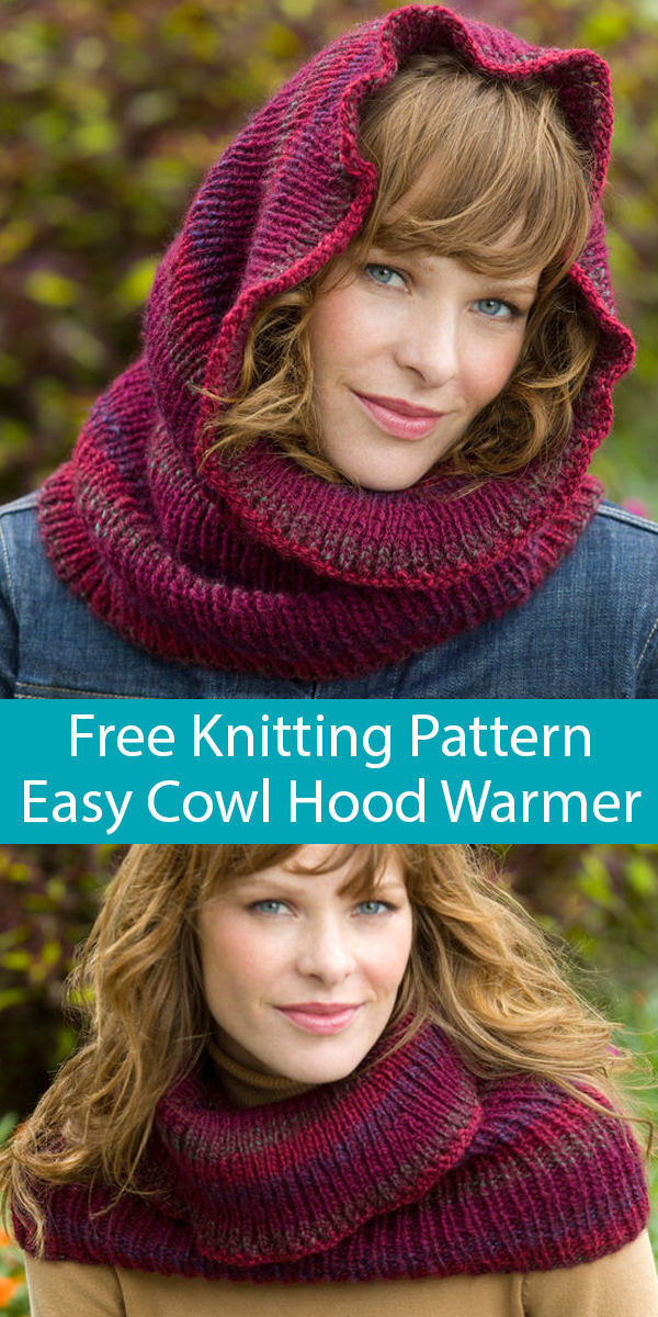Free Knitting Pattern for Easy Cowl Hood Warmer