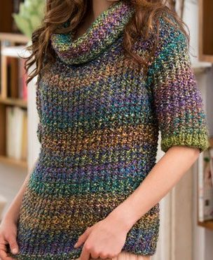 Free knitting pattern for Cowl Neck Slouchy Sweater