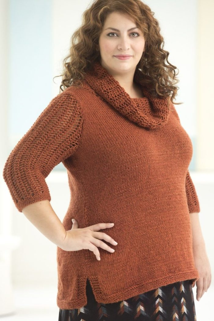 Free Knitting Pattern for Cowl Neck Tunic
