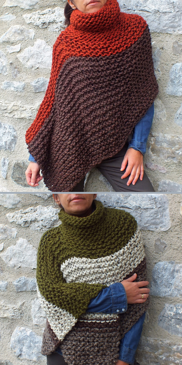 Knitting Pattern for Easy Cowl Neck Poncho