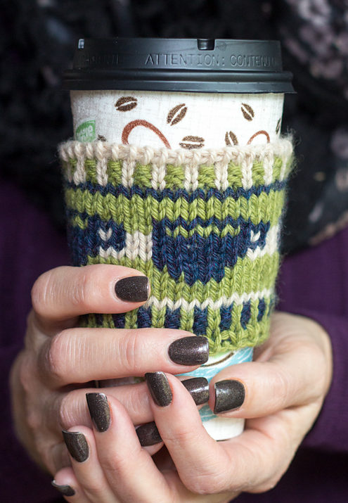 Free Knitting Pattern for Wake up and Smell the Coffee Cozy