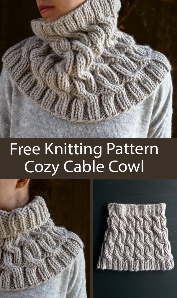 Free Cowl Knitting Pattern Cozy Cable Cowl