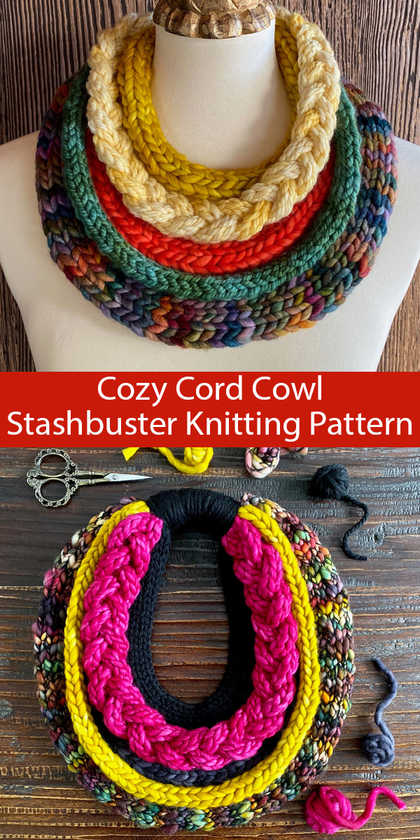 Knitting Pattern for Cozy Cord Cowl Stash Buster