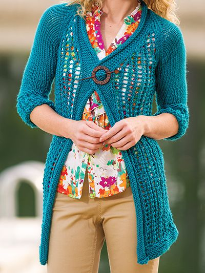 Free knitting pattern for Cozy Lace Cardigan and more shorter sleeved cardigan knitting patterns
