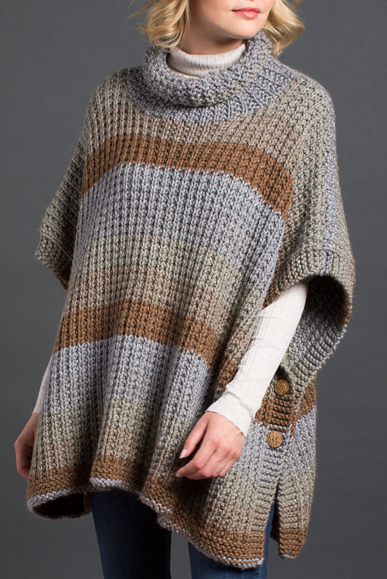 Free Knitting Pattern for 2 Row Repeat Cozy Up Poncho