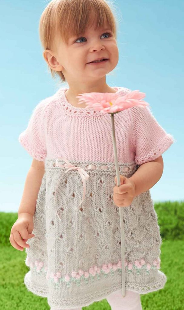 Free knitting pattern for Cozy Posie Dress