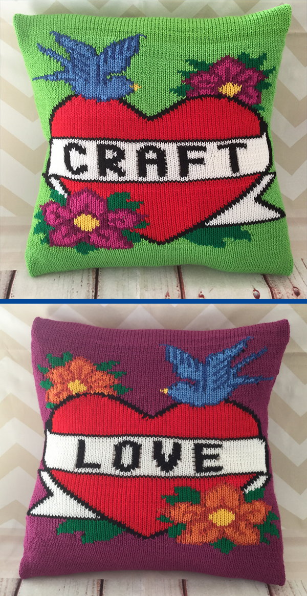 Knitting Pattern for Craft Tattoo Cushion Cover