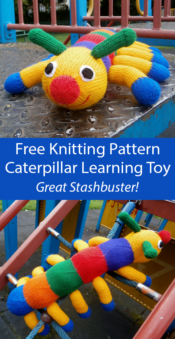 Free Knitting Pattern for Easy Caterpillar Toy for Learning Counting and Colors
