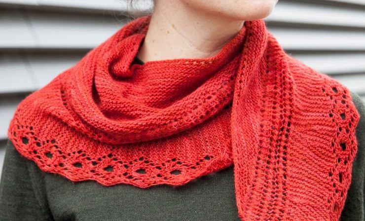 Free Knitting Pattern for Lace Edge Shawl
