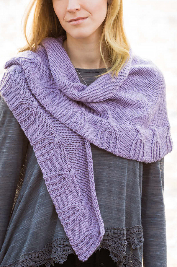 Free Knitting Pattern for Tassel Cable Crescent Shawl