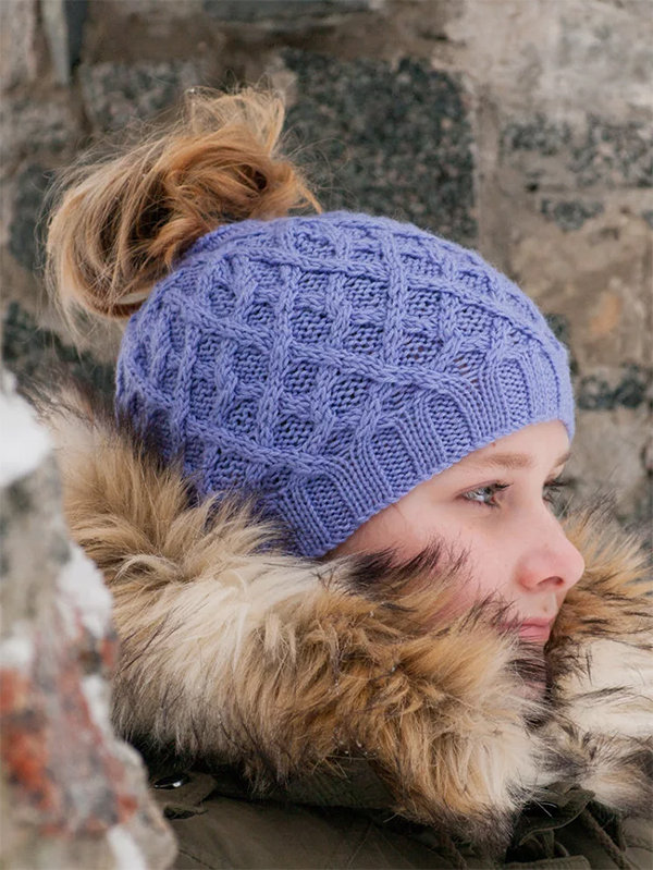 Knitting Pattern for Criss Cross Messy Bun Hat