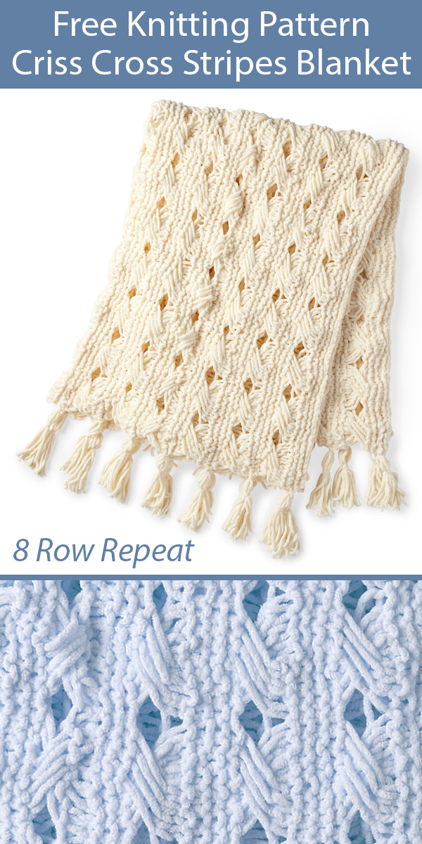 Free Knitting Pattern for Criss Cross Stripes Blanket