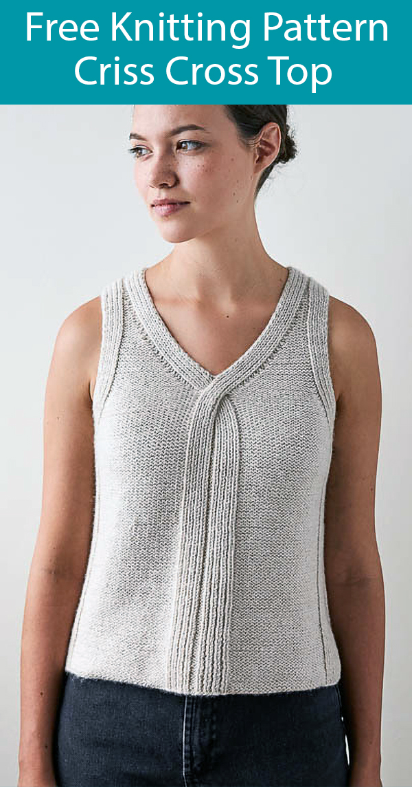 Free Knitting Pattern for Criss Cross Top Sizes 34.5-50.5in
