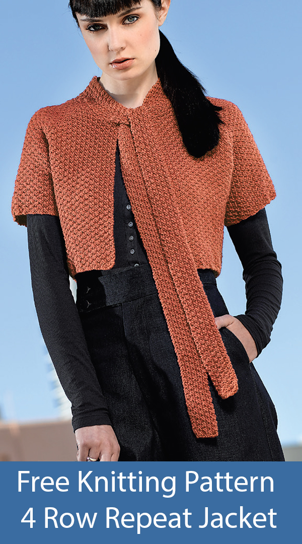 Free Knitting Pattern for 4 Row Repeat Cropped Box Stitch Jacket