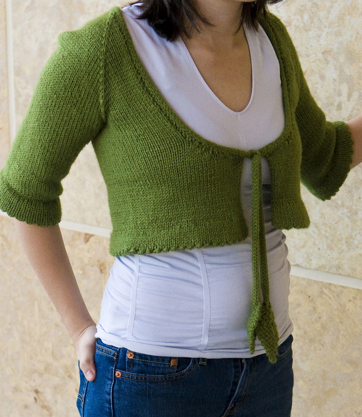 Free Knitting Pattern for Bolero with Leaf Ties