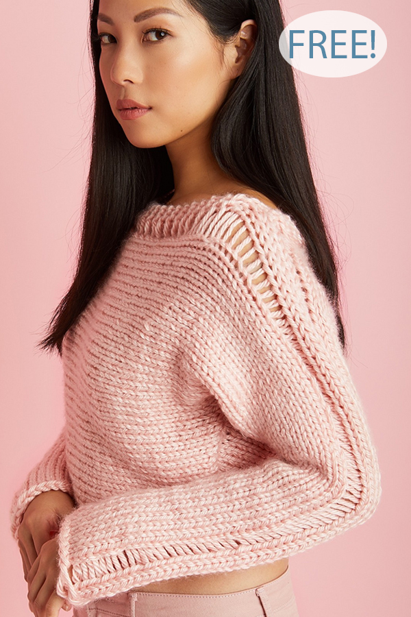 Free Knitting Pattern for Cropped Drop Stitch Pullover