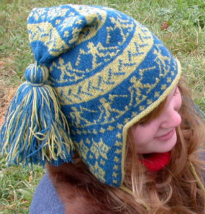 Free knitting pattern for Cross Country Chullo Earflap Hat