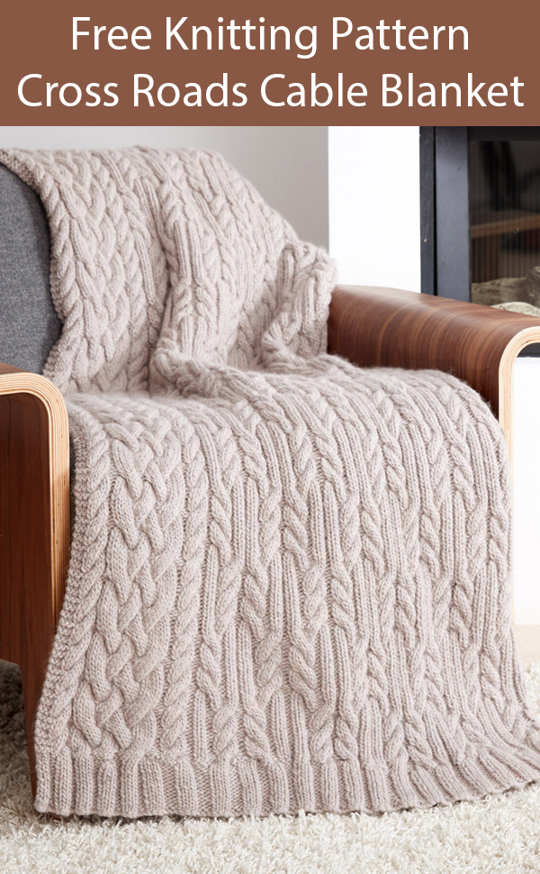 Free Knitting Pattern for Cross Roads Cable Blanket