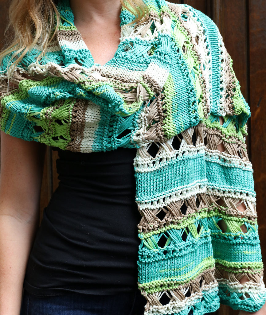 Free Knitting Pattern for Cross Stitch Stole