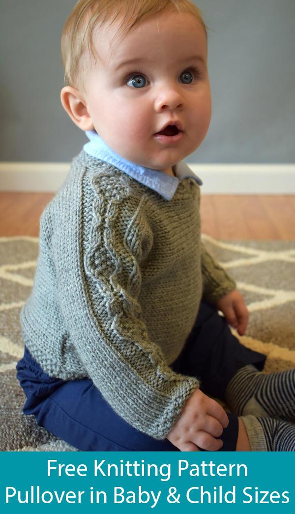 Free Knitting Pattern for Crosscut Pullover for Babies and Children