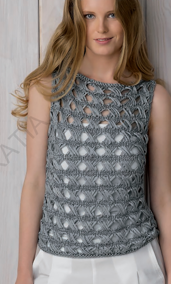 Free Knitting Pattern for Cross Over Stitch Top