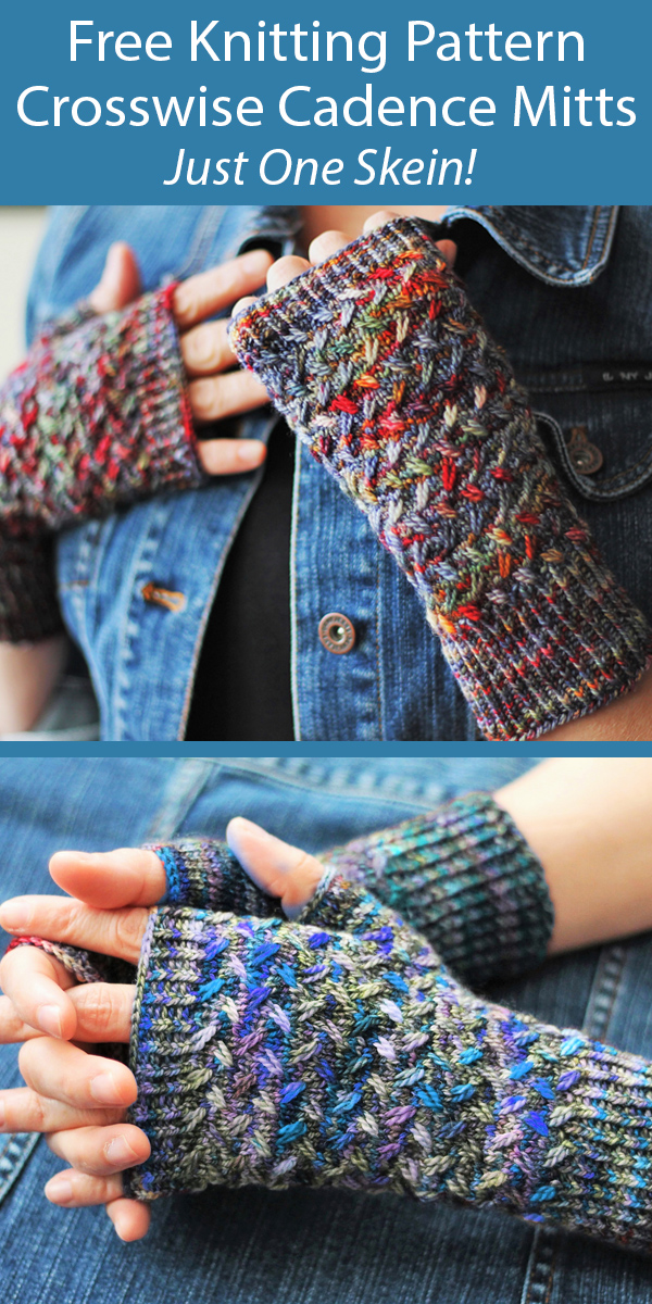 Free Knitting Pattern for 1 Skein Crosswise Cadence Fingerless Mitts