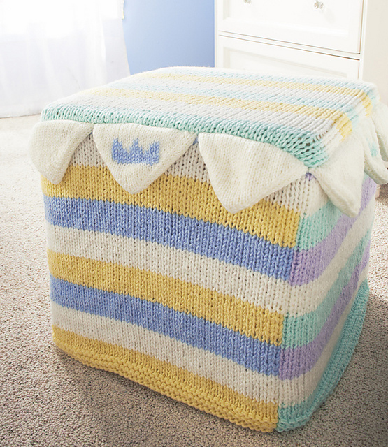 Free knitting pattern for Crown Point Ottoman cover