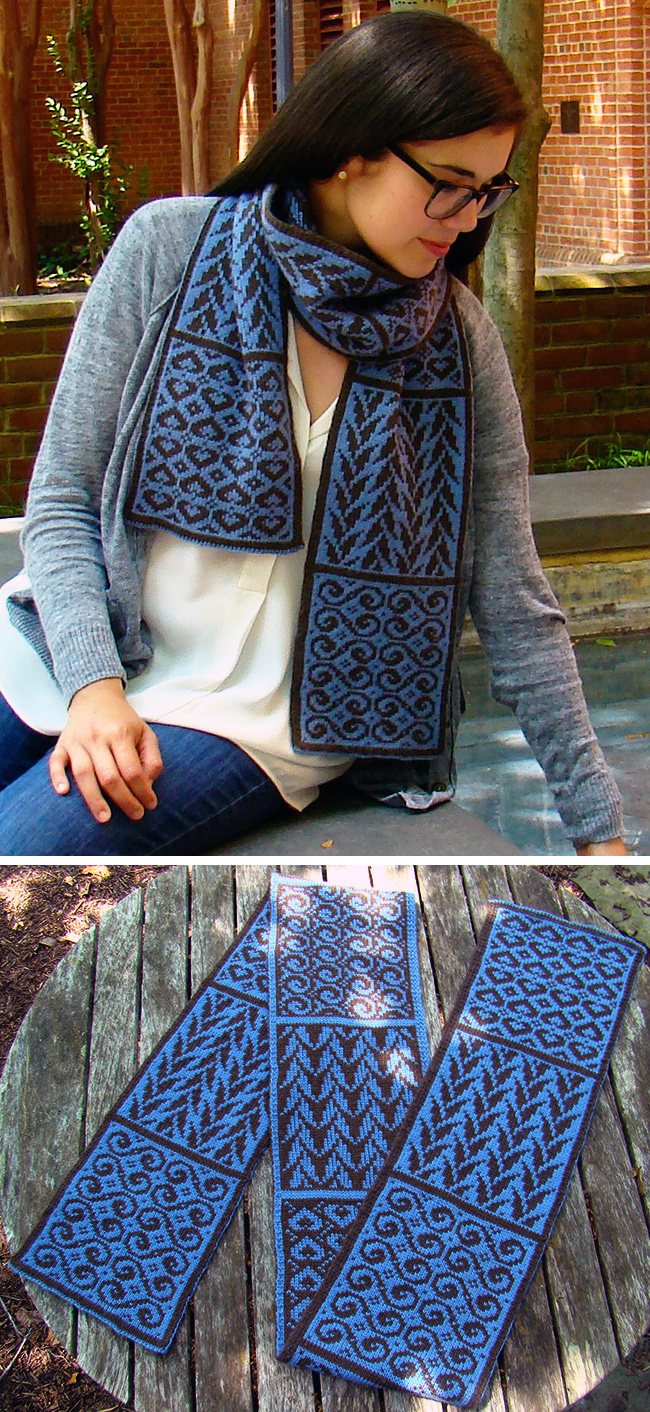 Free Knitting Pattern for Crystalline Symmetry Sampler Scarf
