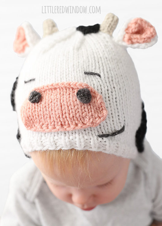 Free Knitting Pattern for Cuddly Cow Hat