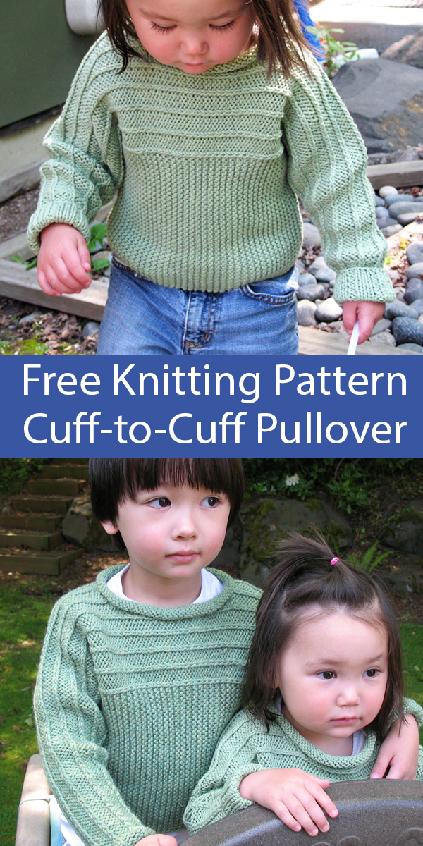 Free Knitting Pattern for Child's Sweater Cuff-to-Cuff Pullover for ages 4 through 10