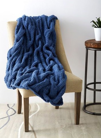 Free knitting pattern for Cushy Cables Knit Blanket and more cable throw knitting patterns