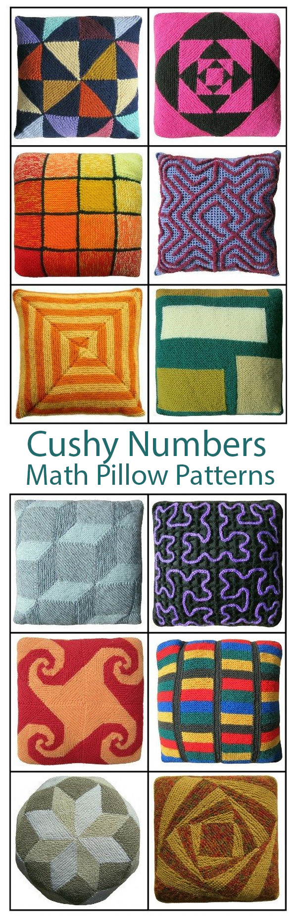 Cushy Numbers Knitting and Crochet Patterns for Mathematical Pillows